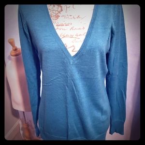 The Limited L teal merino wool sweater